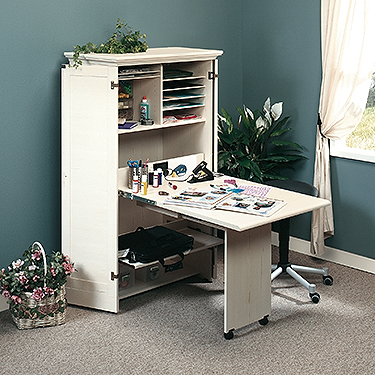 Sauder 158097 harbor view sewing craft armoire the for Sauder harbor view craft armoire antiqued white