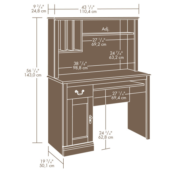 Sauder 101736 Camden County Desk With Hutch The