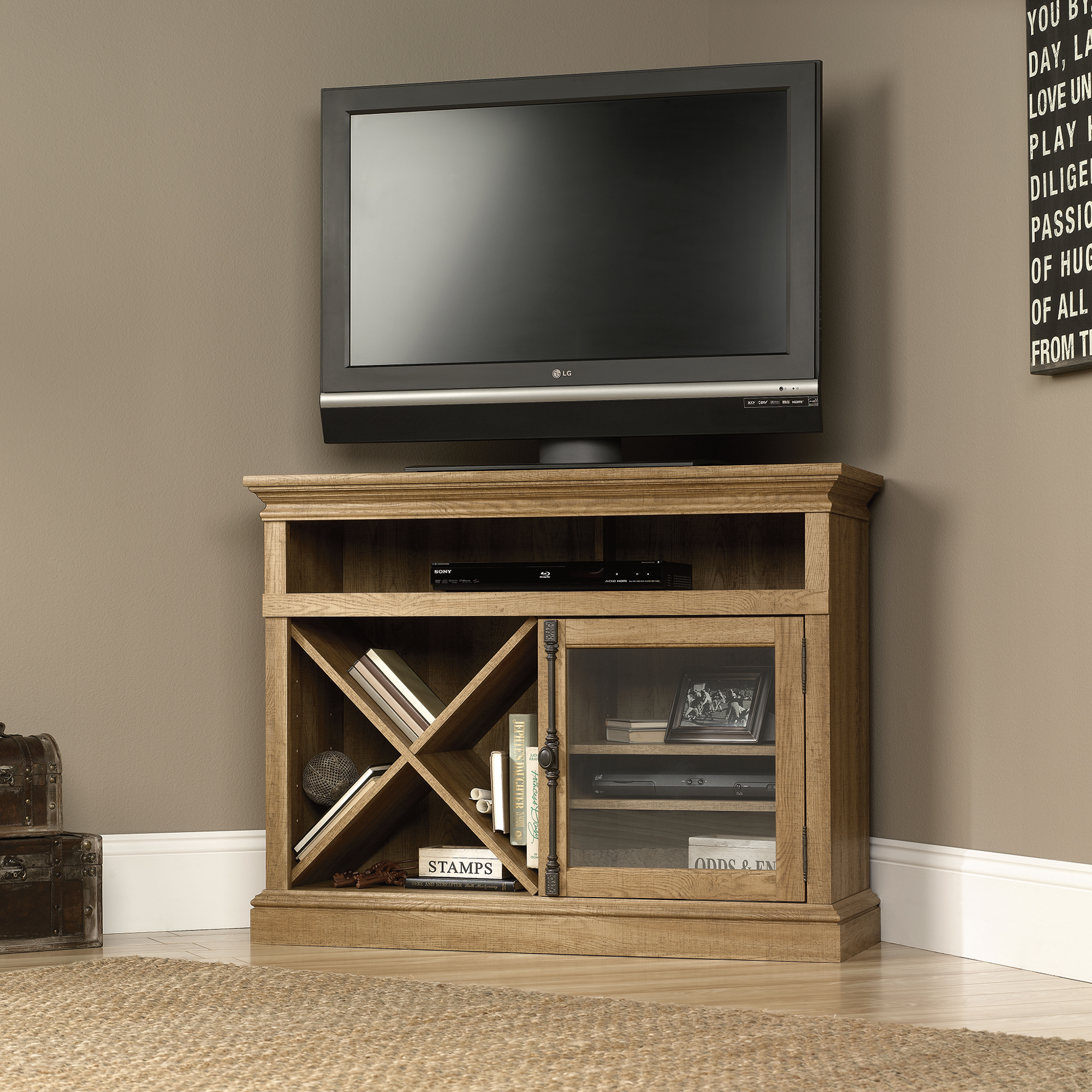 sauder 414723 corner tv stand the furniture co. Black Bedroom Furniture Sets. Home Design Ideas