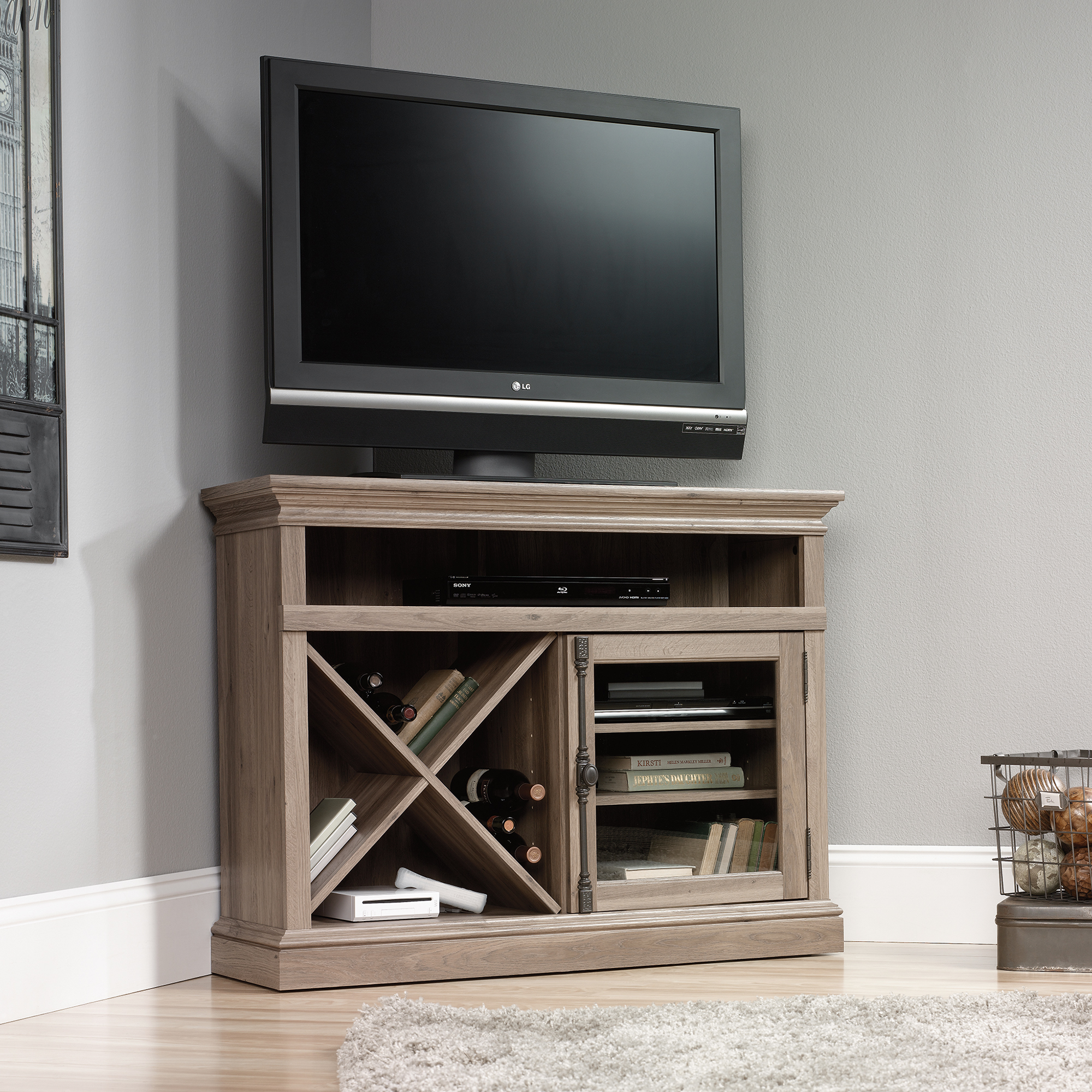 sauder 414729 corner tv stand the furniture co. Black Bedroom Furniture Sets. Home Design Ideas