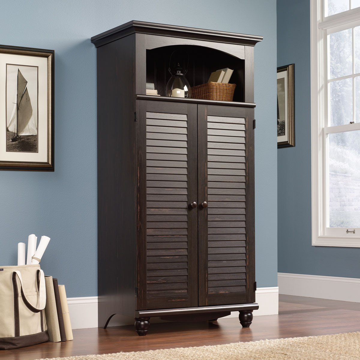 sauder 138070 harbor view computer armoire the. Black Bedroom Furniture Sets. Home Design Ideas