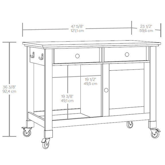 sauder 416849 mobile kitchen island the furniture co sauder furniture kitchen pantry trend home design and decor