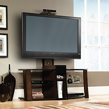 Sauder Panel Tv Stand With Mount Black