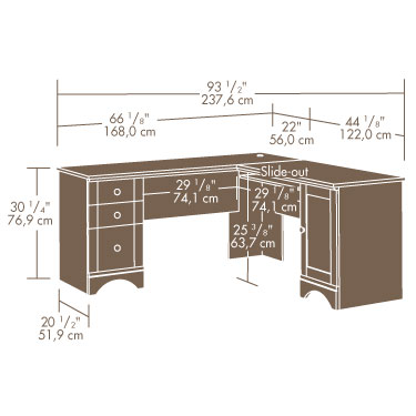 Sauder Harbor View Corner Desk 417586