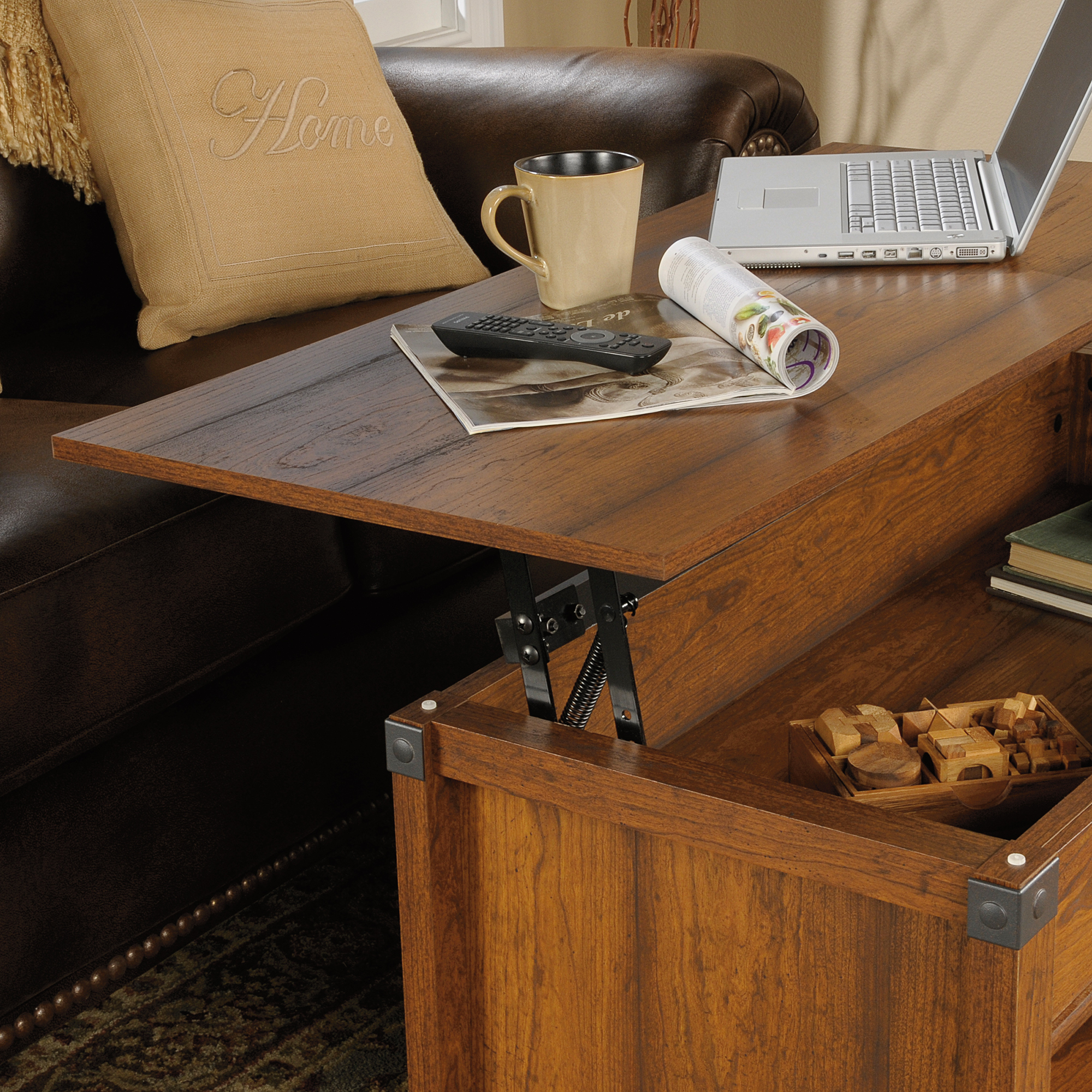 Sauder Carson Forge Coffee Table Sauder The Furniture Co - Lift top coffee table with storage drawers