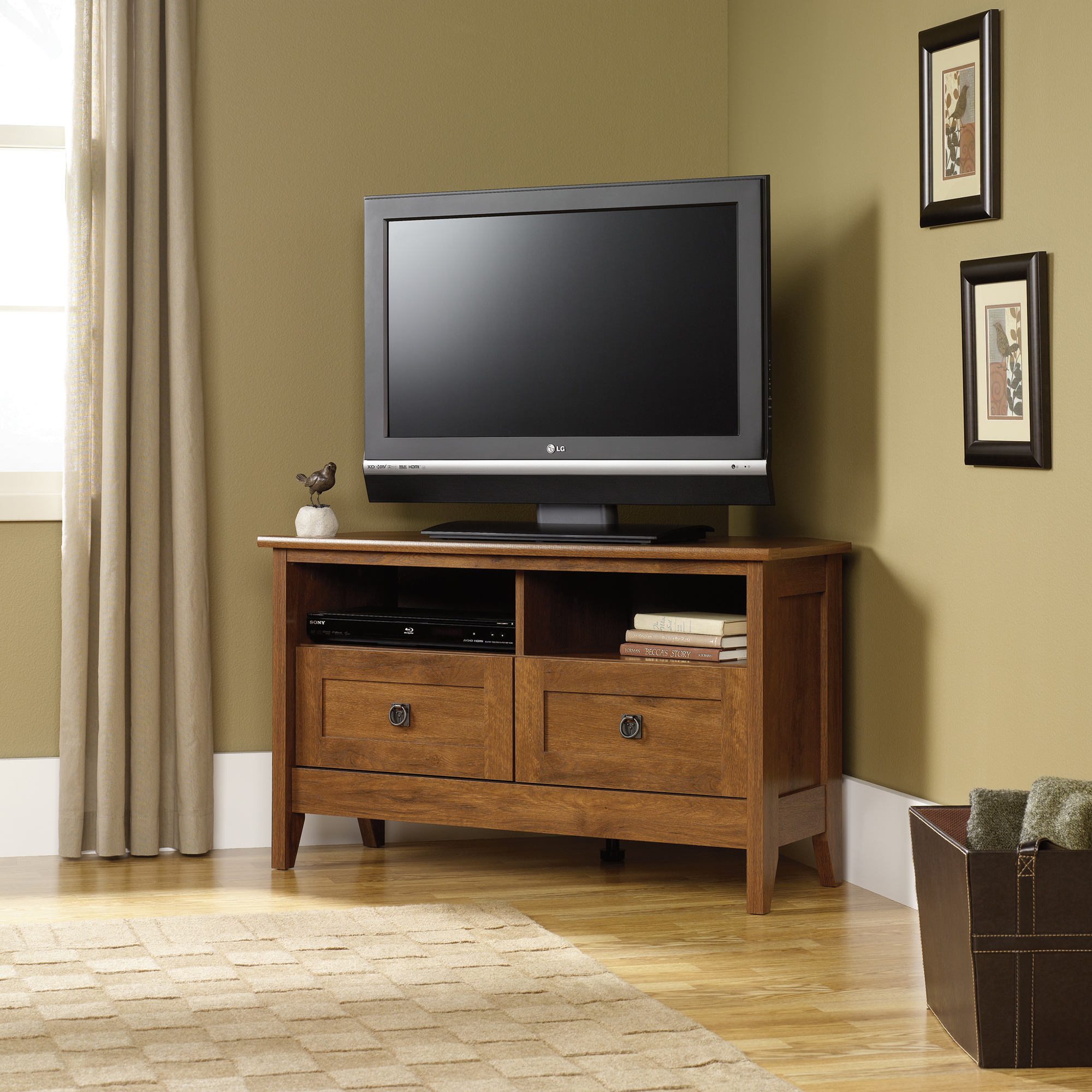 sauder august hill corner tv stand u2013 sauder the furniture co