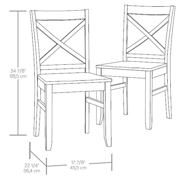 Sauder Harbor View X Back Chair Set Of Two 415236 The