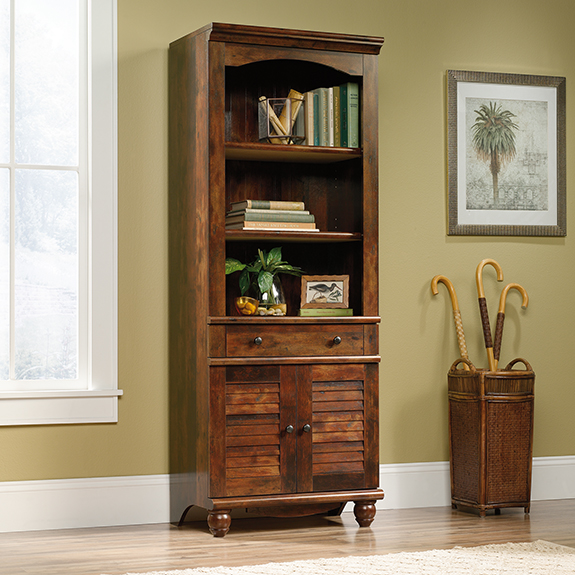 Sauder Harbor View Library With Doors 420476 Sauder The Furniture Co