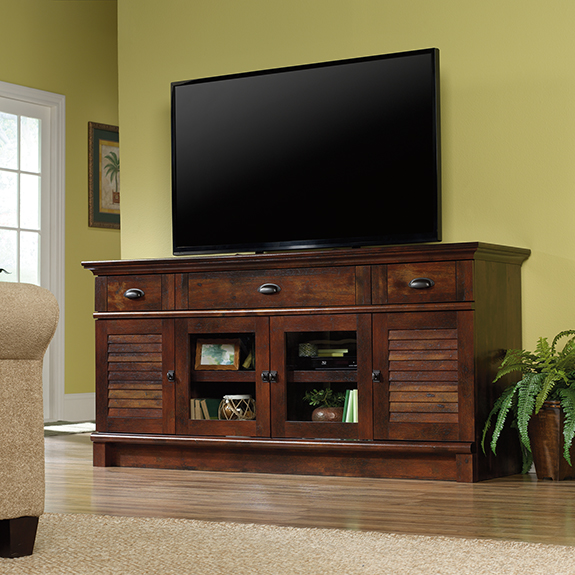 Sauder harbor view tv stand credenza 420723 sauder for Oak harbor furniture